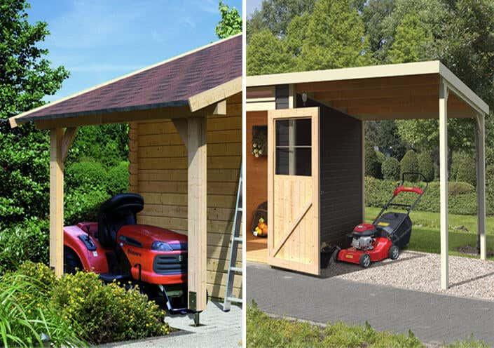 Ein Gerätehaus für Rasenmäher und Rasentraktor