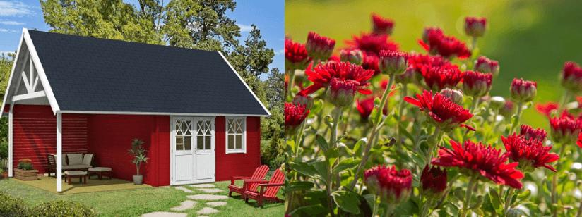 Gartenhaus Gestalten garten gestalten mit der farbe rot beet zu gartenhaus