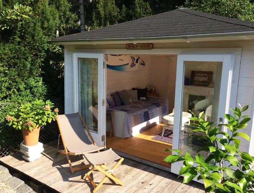 gartenhaus sunshine 40 vom gartenhaus zum strandhaus. Black Bedroom Furniture Sets. Home Design Ideas